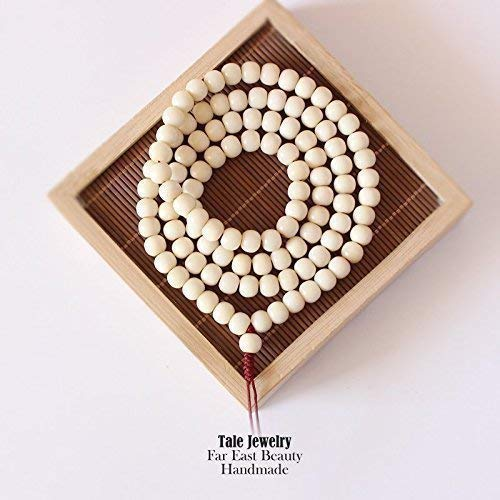 (TALE White Tagua Nut Eco Vegetable Ivory Beads Necklace or Bracelet 108 Mala Tibetan Buddhist Prayer Beads Exclusive)