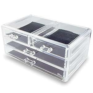 "Ikee Design Jewelry & Cosmetic Storage Display Box 9 3/8"" x 5 3/8"" x 4 3/8""H"