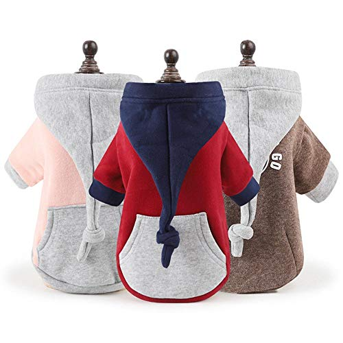 Suma-ma Pet Puppy Clothes Hoodie Warm Coat with Kangaroo Pocket Dog Boys Girls Costume