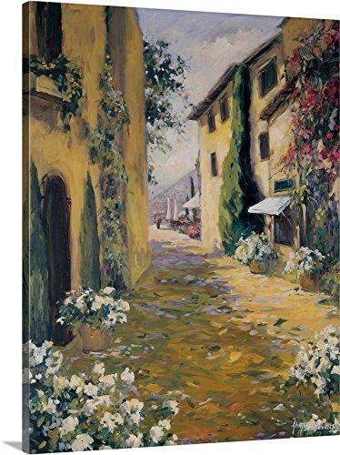 Allayn Stevens Premium Thick-Wrap Canvas Wall Art Print entitled Sunlit Villa I (Tuscan Hillside Village)
