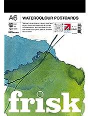 Frisk 23193006 Watercolour Paper Postcard Pad A6 300gsm 12 vellen aquarelpapier-briefkaartenblok, wit