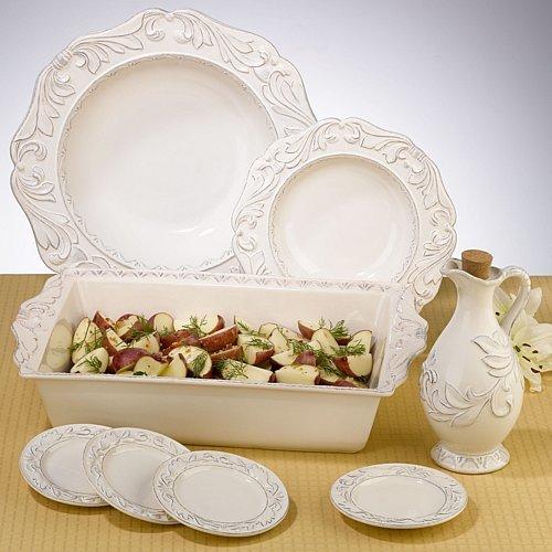 Ivory Firenze Ceramic Service Completer Pieces - ChristmasTablescapeDecor.com