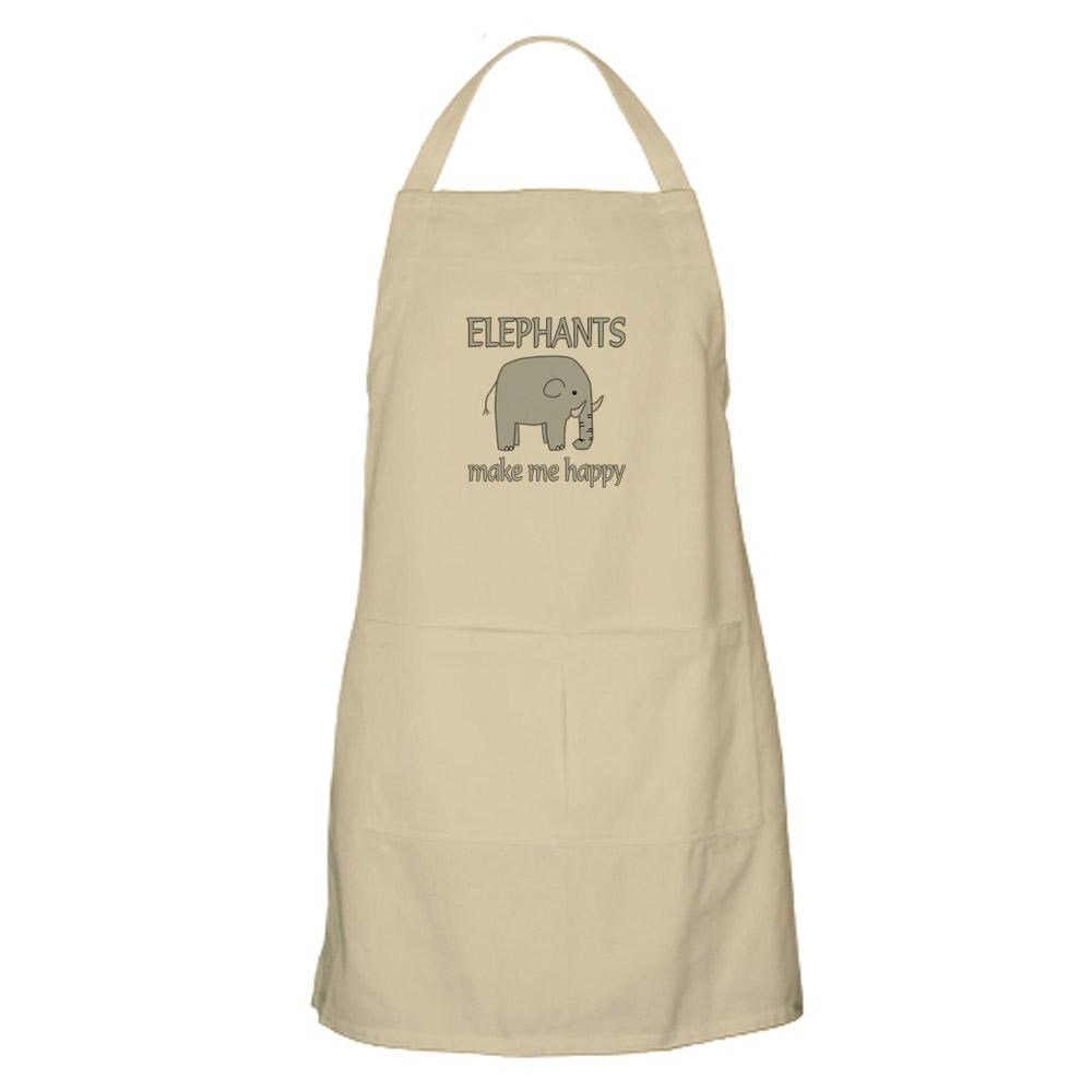 CafePress - Elephant Happy - Kitchen Apron with Pockets
