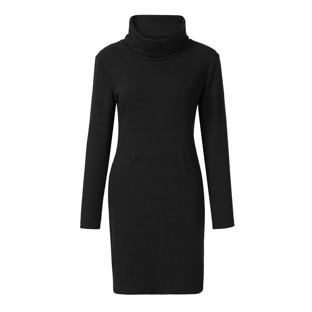 Xmiral Women Dress Cowl Neck Knit Stretchable Elasticity Long Sleeve Slim Fit Sweater