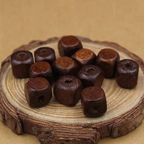 - Calvas 100pcs/lot Craft Square Wooden Beads Vintage Coffee Natural Wood Beads for Manual Decoration Findings 8mm 10mm Accessories Charm - (Color: Coffee, Item Diameter: 8mm 100pcs)