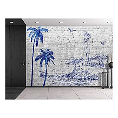 Made to Last, Grand Design, Gray Brickwall with a Blue Sketched Lighthouse and Palm Trees Wall Mural