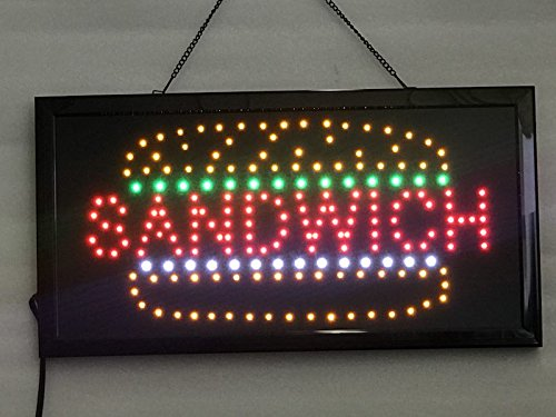 (UPSUN Neon Sign OPEN,LED business open sign advertisement board Electric Display Sign, Two Modes Flashing & Steady light, for business, walls, window, shop, bar, hotel(Sandwich))