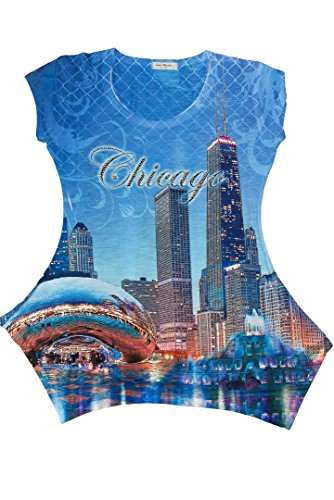 SWEET GISELE Chicago Skyline Souvenir Tunic T-Shirt For Women (Small, (Chicago Tunic)