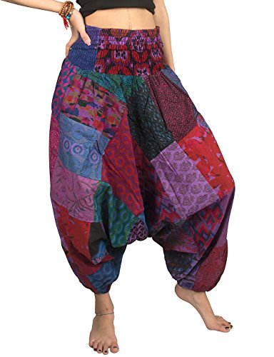 Tribe Azure 100% Cotton Casual Pants Patchwork Comfortable Baggy Yoga Hippie Boho Colorful (Large, Pretty ()