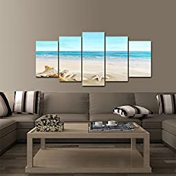 Pyradecor Seashell 5 panels Seascape Giclee Canvas Prints Landscape Pictures Paintings on Modern Stretched and Framed Canvas Wall Art Sea Beach Pictures Artwork for Home Decor