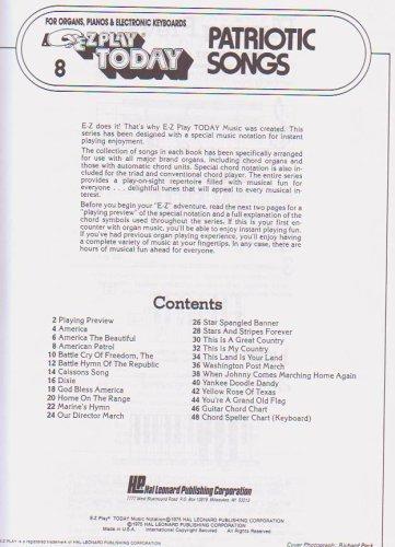 Patriotic Songs E Z Play Amazon Books