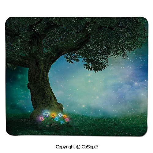 Premium-Textured Mouse pad,Fairytale Little Red Riding Hood Forest at Night with Flowers and Stars Image,for Laptop,Computer & PC (11.81