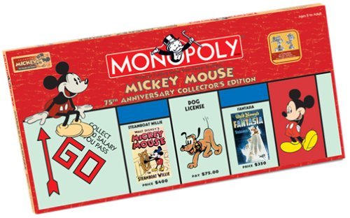 Anniversary Collectors Edition Monopoly - Mickey Mouse Monopoly - 75th Anniversary Collectors Edition
