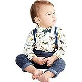 Toddler Baby Boys Gentleman Dinosaur Bowtie+Shirt Romper+Bib Pants Outfit 3Pcs/Set