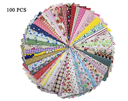 Embellishments Scrapbooking Fabric (levylisa 100 Pieces 6'' x 6''100% Printed Cotton Quilting Fabric Patchwork Precut Fabric Quilt Squares DIY Sewing Quarter Bundle Fabric for DIY Craft Embellishment Sewing Scrapbooking Quilting)