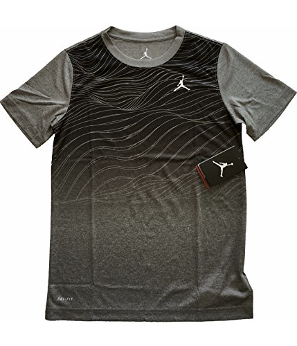 Jordan Air Boys Youth Printed Dri-Fit T-Shirt Tee Black/Gray Size Medium (10-12)