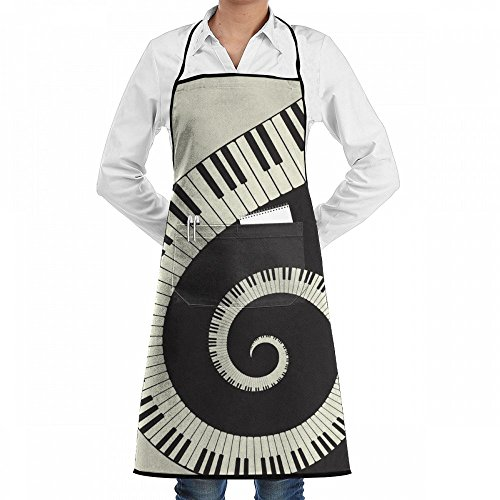 HOME Bib Kitchen Apron Set For Women And Men With Pockets Funny Piano Wallpaper Themed Home Restaurant Cooking BBQ Aprons Woodwork ()