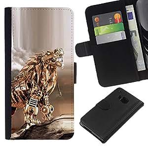 KingStore / Leather Etui en cuir / HTC One M9 / Gold Dragon Poker tigre del metal Escultura