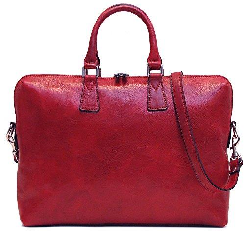 Floto Milano Slim Red Briefcase Attache Lap-top Case (Attache Case For Women)