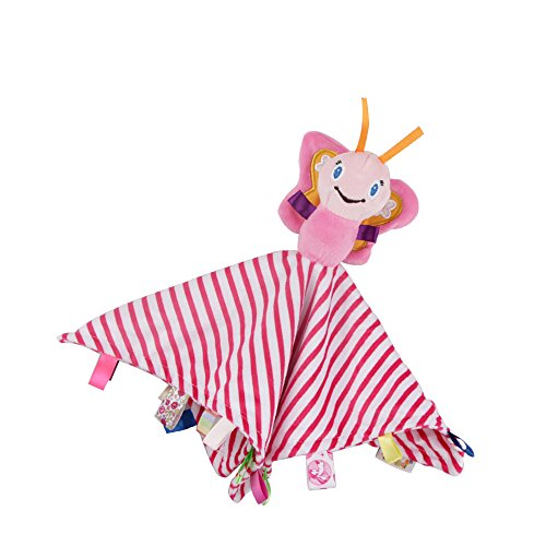 Inchant Butterfly Taggie Comforter Blanket,Super Soft Taggies Plush Toy,Baby Sensory Tag Toy - Comfort and Cheer Your Baby Taggies Character Blanket