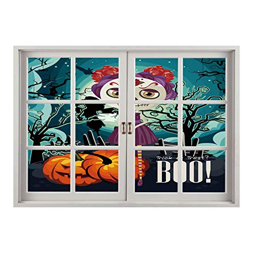 SCOCICI Wall Sticker,Window Looking Out Into/Halloween,Cartoon Girl with Sugar Skull Makeup Retro Seasonal Artwork Swirled Trees Boo Decorative,Multicolor/Wall Sticker -