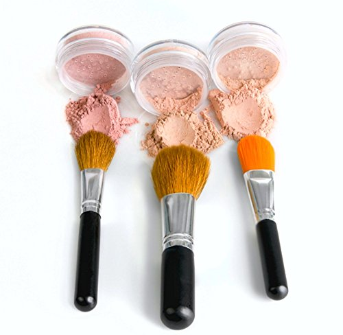 TRIO WITH BRUSHES Full Size Kit Mineral Makeup Brush Set Foundation, Concealer, Blush Bare Face Sheer Powder Cover (FAIR 2)