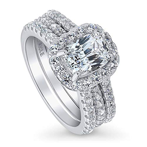 (BERRICLE Rhodium Plated Sterling Silver Cubic Zirconia CZ Halo Engagement Insert Ring Set Size 6)