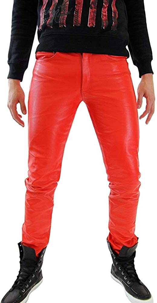LE CRAZE Mens Leather Pant Genuine Lambskin Slim fit Leather Casual Trouser Pants MP01