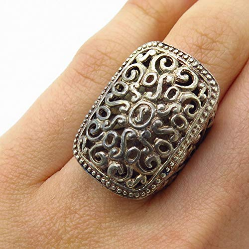Vintage 925 Sterling Silver Ornate Scroll Swirl Design Wide Ring Size 6 Jewelry by Wholesale Charms