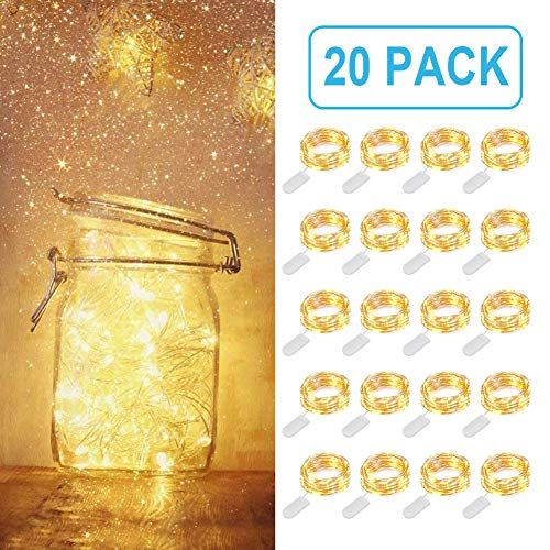 MUMUXI 20 Pack Fairy Lights Battery Operated, 3.3ft 20 LED Mini Waterproof String Lights Silver Wire Firefly Starry Lights for DIY Wedding Centerpiece Party Mason Jars Christmas Decorations,Warm White