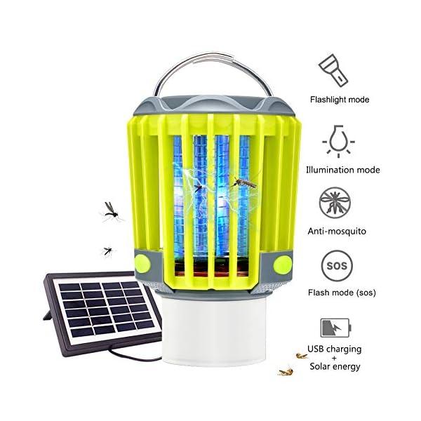 Anordsem 3 in 1 Lanterna da Campeggio Lampada Antizanzara Torcia Impermeabile IP67 con USB ed Energia Solare… 1 spesavip