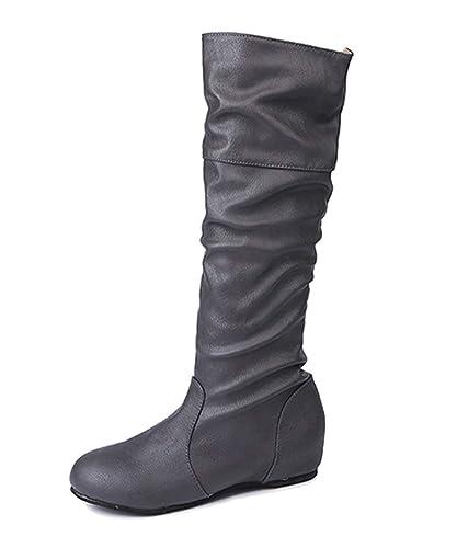 Minetom Femme Bottes Haute Hiver L'Automne Mode Casual Boots en Cuir À Plis Élégant Classique Fête Chaussures Plat