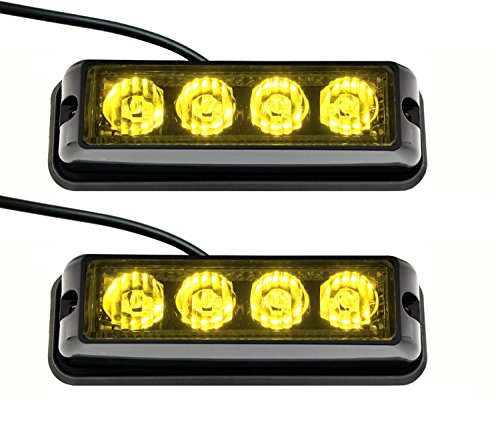 Strobelight Bar 4 LED with Super Bright Emergency Beacon Flash Caution Strobe Light Bar with 17 Different Flashing-2PCS (Yellow) ()