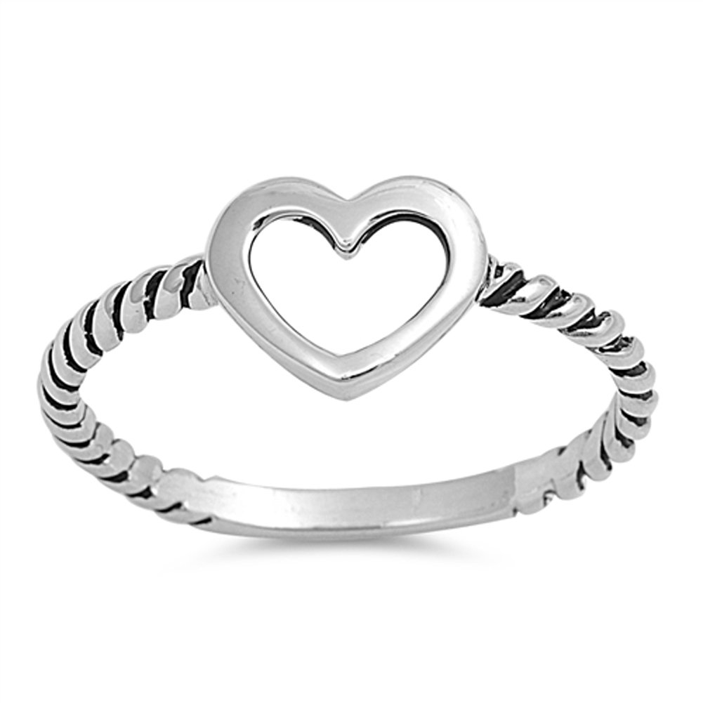 Oxidized Twist Heart Purity Promise Ring New 925 Sterling Silver Band Sizes 3-12 Sac Silver