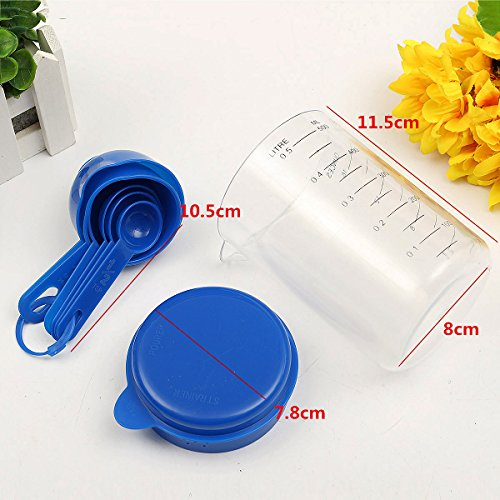 500ML Plastic Craft Teaspoon Measuring Cup with Spoons Set for Lab
