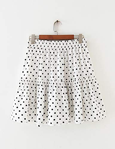 Relipop Women's Flared Short Skirt Polka Dot Pleated Mini Skater Skirt with Drawstring
