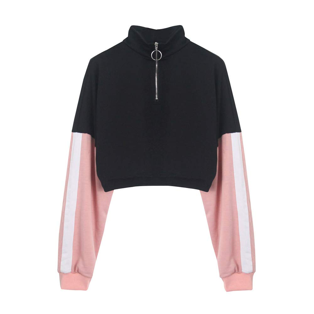GzxtLTX Womens Pink Long Sleeve White Stripe Splicing O Neck Fashion Sweatshirt Blouse Zipper Pullover (S, Black & Pink)