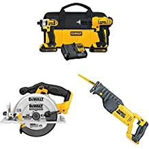 DEWALT Lithium Drill Driver with Li-Ion Circular Saw and Reciprocating Saw