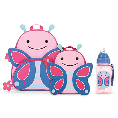 Skip Hop Zoo Backpack, Lunchie, and Bottle Set, Butterfly