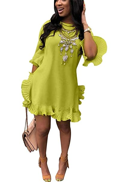 2eb1b8411cb LKOUS Women Summer Short Sleeve Round Neck Ruffles Hem Loose Midi Mini  Dresses Casual Plus Size