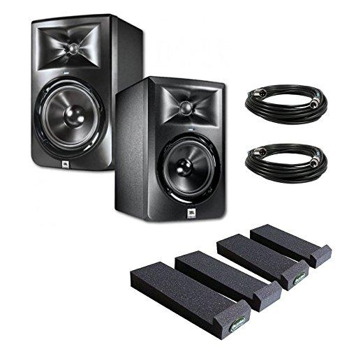 JBL LSR305 5-inch Two-Way Powered Studio Monitors (PAIR) w/ Auralex MoPads + (2) XLR Cables