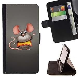 BullDog Case - FOR/Samsung ALPHA G850 / - / Cute Funny Fat Mouse /- Monedero de cuero de la PU Llevar cubierta de la caja con el ID Credit Card Slots Flip funda de cuer