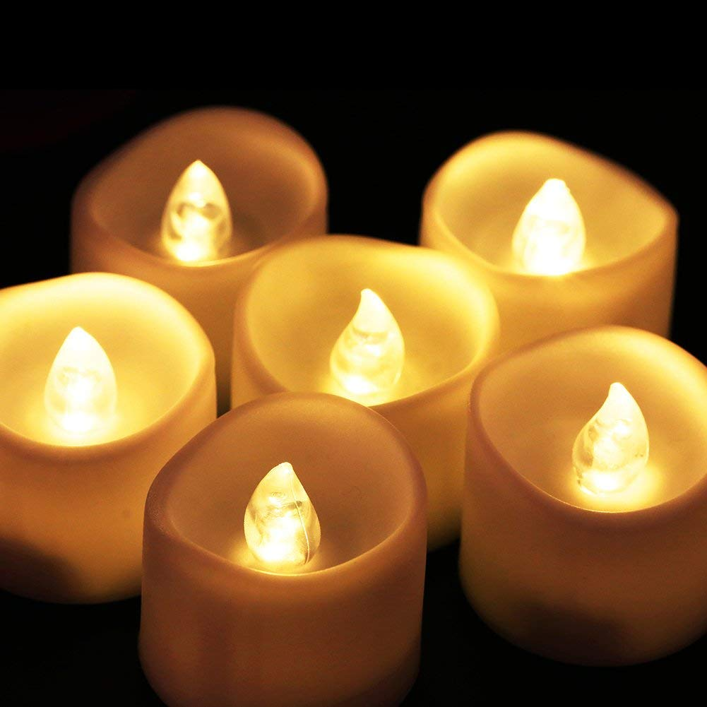GUO Gzz Deng Home Outdoor Lighting Led Tea Lights, Glamouric Flickering Battery Operated Flameless Led Candle Lights, Pack of 12, Warm White
