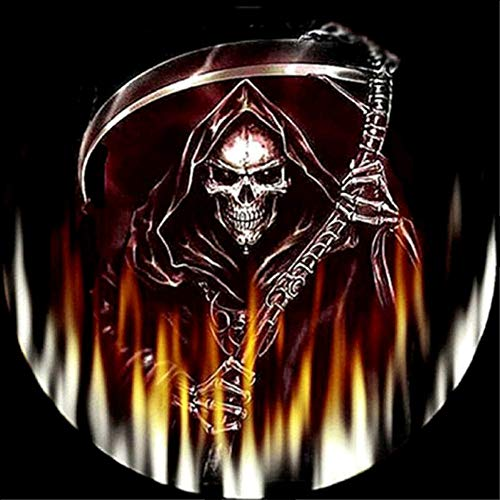 Vacally 5D DIY Diamond Painting ,Halloween Pumpkin Diamond Painting by Number Kits Drill Rhinestone Embroidery for Wall Decoration Grim Reaper -