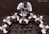 Wedding Flowers Purple and Teal Turquoise BEADED Lily Bouquet 16 piece package with boutonnieres. Other colors available in my Amazon store. Perfect for Quinceanera