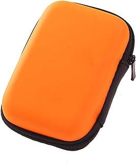 Winice Housse de transport portable pour écouteurs, petit sac de rangement protecteur pour sac de rangement protecteur pour écouteurs, écouteurs, clés USB, câbles - Orange écouteurs clés USB câbles - Orange