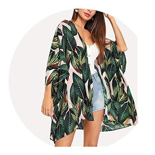 Multicolor Tropical Jungle Leaf Print Batwing Sleeve Kimono 2019 Women Summer Sleeve Vacation Longline Beach,Multi,M