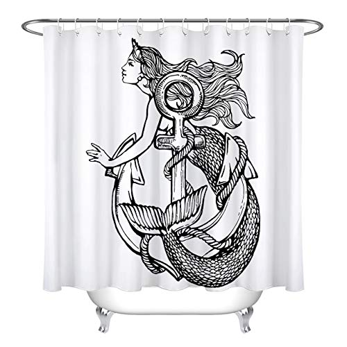 LB Vintage Mermaid Anchor Pattern Print Shower Curtain for Bathroom, Nautical Themed Fabric Curtain for Shower Stall, 59 W x 70 L, Water Proof Fabric Shower Curtain -