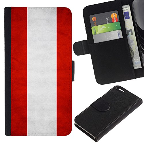 EuroCase - Apple Iphone 6 4.7 - Austria Grunge Flag - Cuir PU Coverture Shell Armure Coque Coq Cas Etui Housse Case Cover