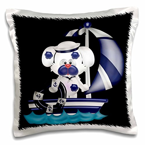 White Sailor Dog Shirt (Anne Marie Baugh - Nautical - Blue and White Sailor Dog On Sailing Boat With Heart Life Preserver - 16x16 inch Pillow Case (pc_222610_1))